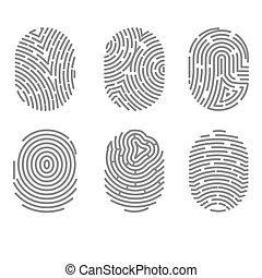 ensemble, empreinte doigt, lignes, isolé, tordu, vecteur, signes, types