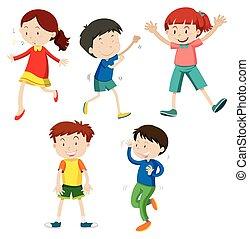 ensemble, enfants, danse