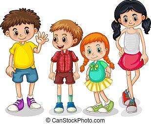 ensemble, enfants, heureux