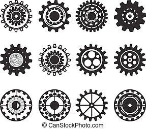 ensemble, engrenage, isolé, collection, arrière-plan., gears., roues, blanc