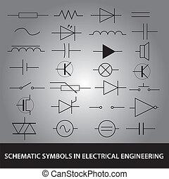 ensemble, eps10, symboles, ingénierie, électrique, schématique, icône