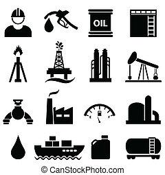 ensemble, essence, huile, icône