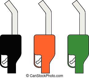 ensemble, essence, isolé, pompe, fond, blanc, icône