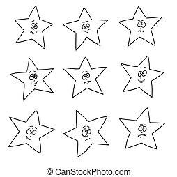 ensemble, expressions., fête, stars., faces, amusement, dessin animé