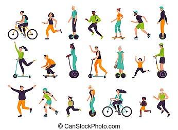 ensemble, extérieur, jogging., équitation, vélo, vecteur, illustration, gens., courant, activités, style de vie, sain, actif, rollerblading, skateboarding