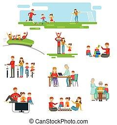 ensemble, famille, ensemble, amusement, illustrations, avoir, heureux