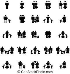 ensemble, famille, icône