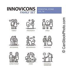ensemble, famille, icônes, -, conception, ligne