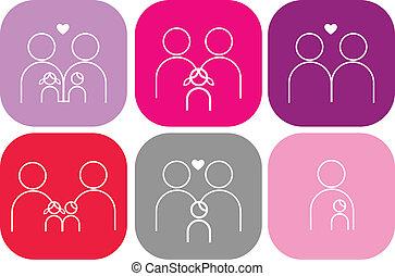 ensemble, famille, icônes