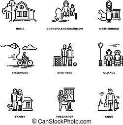 ensemble, famille, icônes, maternité, vecteur, mariage, ligne mince, parents