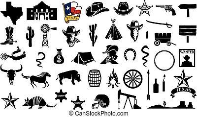 ensemble, fer cheval, bataille, cric, éperons, conception, casque, cheval, shérif, icônes, pompe, flèche, cactus, texas, huile, skull), botte football, chapeau, taureau, (flag, fusil, cow-boy, étoile, carte, alamo, vecteur, tête