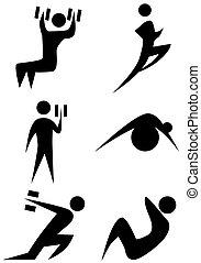 ensemble, figure bâton, exercice