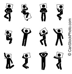 ensemble, figure, dormir, crosse, icône, homme