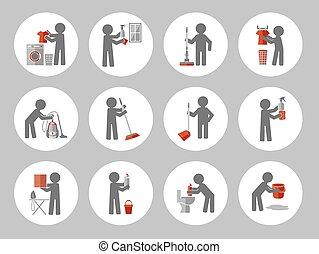 ensemble, figure, gens., illustration, vecteur, nettoyage, icône