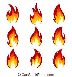 ensemble, flamme