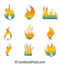 ensemble, flamme, icône