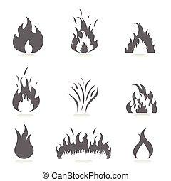 ensemble, flammes, icône