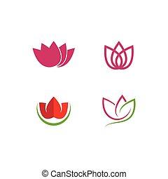 ensemble, fleurs, logo, lotus