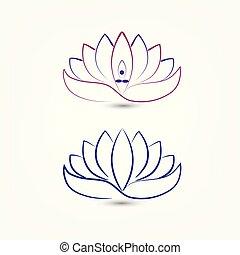 ensemble, fleurs pourpres, lotus, logo