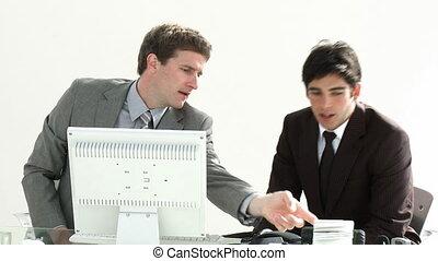 ensemble, fonctionnement, hommes affaires