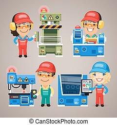 ensemble, fonctionnement, ouvriers, usine, dessin animé, machines