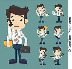 ensemble, fonctionnement, presse-papiers, beaucoup, complet, bloc-notes, contrat, cellule, élégant, papier, téléphone, mains, homme affaires, prise, document