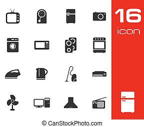 ensemble, fond, vecteur, noir, appareils, maison, blanc, icône