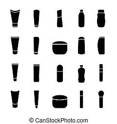 ensemble, fond, vecteur, noir, produits de beauté, bouteille, blanc, icône