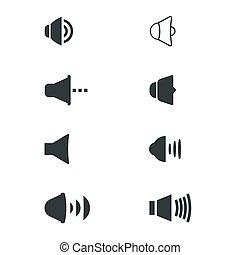 ensemble, fondamental, icônes, ui, volume, toile, mobile, utilisateur, joueurs, interface., média, son