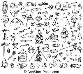 ensemble, forêt, camping, icônes