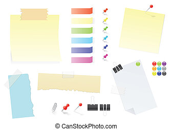 ensemble, fourniture bureau, notes, papier, poteau-il, autocollants