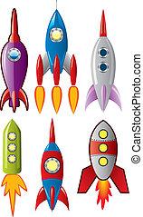ensemble, fusée, espace, bateaux, stylisé, vecteur, retro