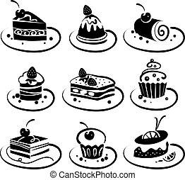 ensemble, gâteaux