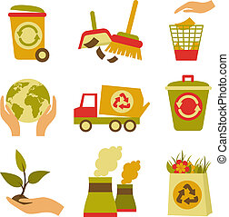ensemble, gaspillage, écologie, icône