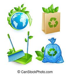 ensemble, gaspillage, écologie, icônes
