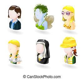 ensemble, gens, avatar, icône, internet