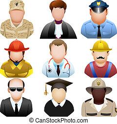 ensemble, gens, icône, uniforme