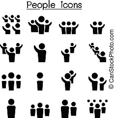 ensemble, gens, icône