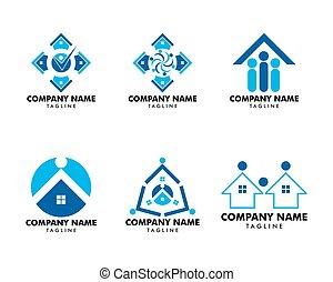 ensemble, gens, maison, communauté, conception, gabarit, logo