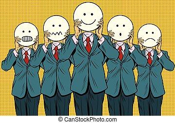ensemble, gens, vendange, visage smiley, emoji
