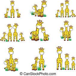 ensemble, girafe, dessin animé, 01