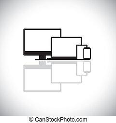 ensemble, graphic., moderne, ordinateur portable, gadgets, conception, consiste, toile, tablette, icônes, -, bureau, cellule, ordinateur pc, moniteur, utilisé, téléphone, cahier, téléphone, graphique, aimer, ceci, mobile, vecteur, ou