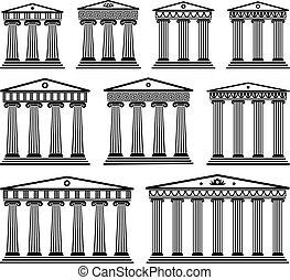 ensemble, grec, vecteur, architecture, ancien, colonnes