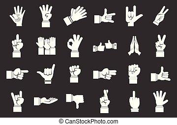 ensemble, gris, main, vecteur, signe, icône