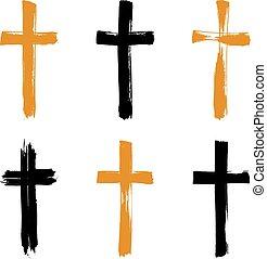 ensemble, grunge, collectio, icônes, croix, jaune, hand-drawn, noir