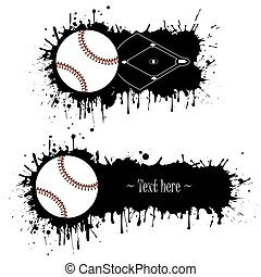 ensemble, grunge, main, base-ball, dessiné, bannières