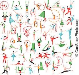 ensemble, gymnastique, ballet, grand