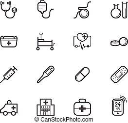 ensemble, hôpital, élément, vecteur, arrière-plan noir, blanc, icône