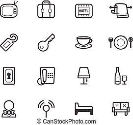 ensemble, hôtel, élément, vecteur, arrière-plan noir, blanc, icône