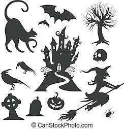 ensemble, halloween, vecteur, divers, éléments conception